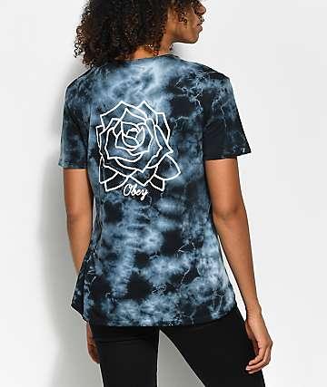 Obey Mira Rosa camiseta negra polvareda con efecto tie dye