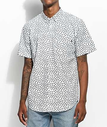 Obey Monty camisa blanca tejida con patrón cachemir