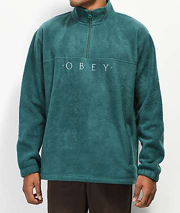 Obey Mountain Dark Teal Quarter Zip Fleece Sweatshirt
