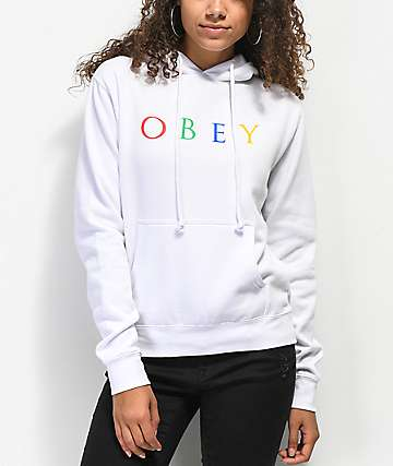 Obey Multicolor Novel White Hoodie