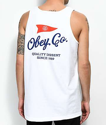 Obey Nautical Flag White Tank Top