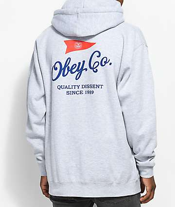 Obey Nautical Heather Grey Hoodie