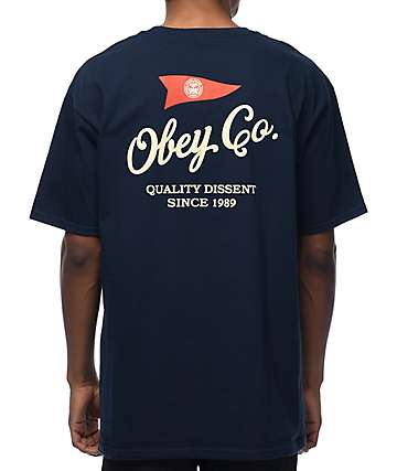 Obey Nautical camiseta en azul marino