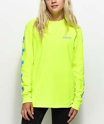 Obey New Rose 2 Neon Yellow Long Sleeve T-Shirt