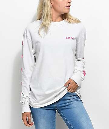 Obey New Rose 2 camiseta blanca de manga larga