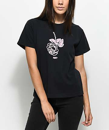 Obey New Rose Boxy Black T-Shirt