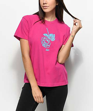 Obey New Rose camiseta rosa con corte cuadrado
