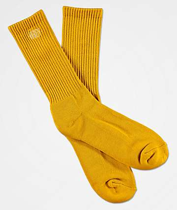 Obey New Times Embroidered Golden Olive Crew Socks