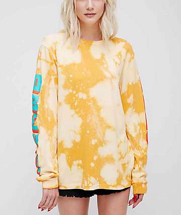 Obey New World 2 Yellow Bleached Long Sleeve T-Shirt