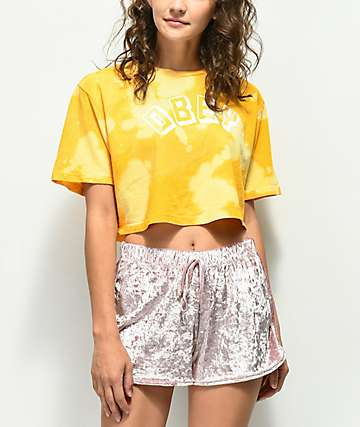 Obey New World Bleached Yellow Crop T-Shirt