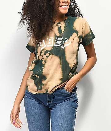 Obey New World Box camiseta verde blanqueada