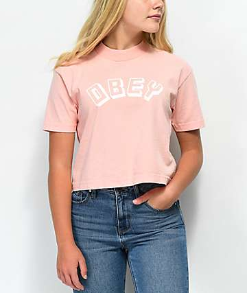 Obey New World Peach Mock Neck T-Shirt