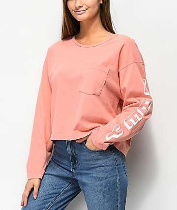 Obey New World camiseta corta de manga larga rosa