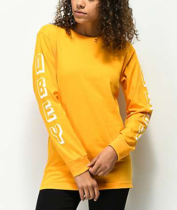 Obey New World camiseta de manga larga dorada