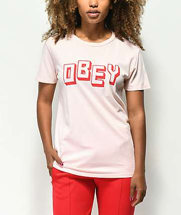 Obey New World camiseta en rosa claro