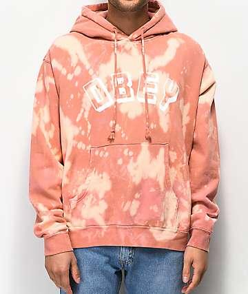 Obey New World sudadera con capucha rosa blanqueada