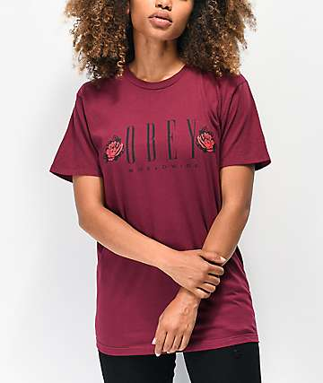 Obey New Worldwide Rose Burgundy T-Shirt