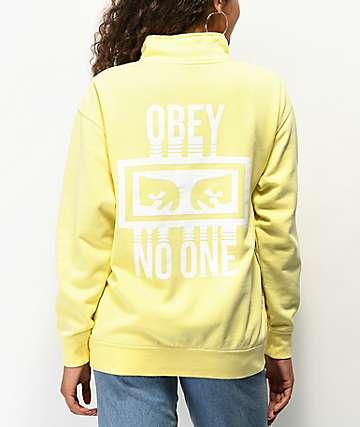 Obey No One Yellow Quarter Zip Sweatshirt