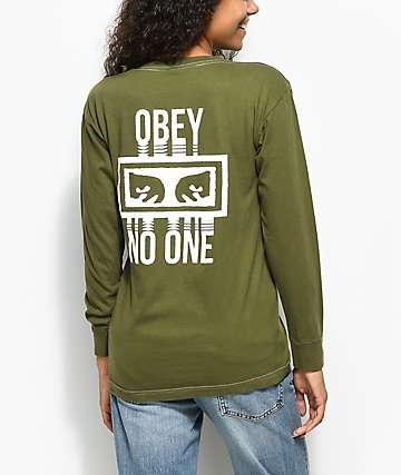 Obey No One camiseta de manga larga en verde olivo