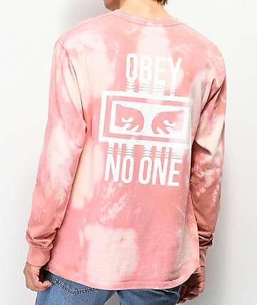 Obey No One camiseta de manga larga rosa blanqueada
