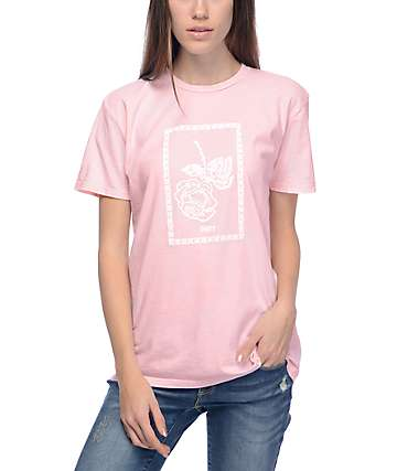 Obey Nobodys Flower camiseta rosa