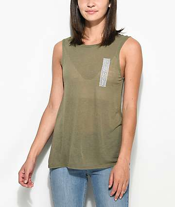 Obey Nomadic Kinsley Olive Tank Top
