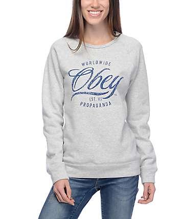 Obey Note Script Heather Grey Womens Crew Sweatshirt
