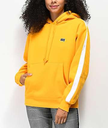 Obey Nova sudadera con capucha dorada y blanca