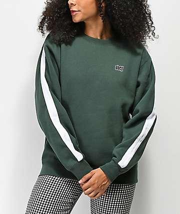 Obey Nova sudadera verde y blanca con cuello redondo