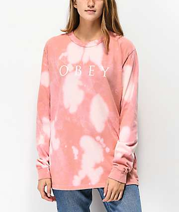 Obey Novel 2 Box camiseta de manga larga rosa blanqueada