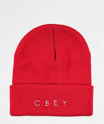 Obey Novel 2 Red Beanie