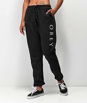 Obey Novel 2 pantalones deportivos negros