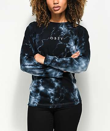 Obey Novel Black Tie Dye Long Sleeve Shirt