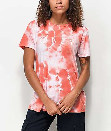 Obey Novel Classic Coral Tie Dye T-Shirt
