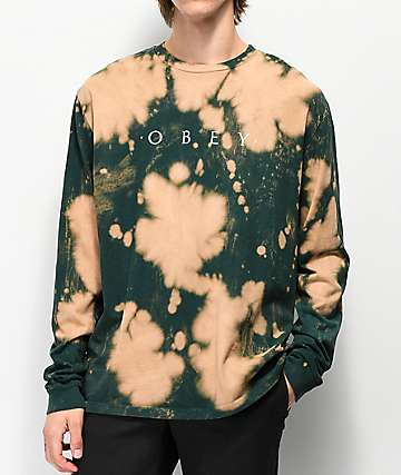 Obey Novel Dark Teal Bleached Long Sleeve T-Shirt