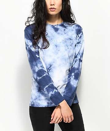 Obey Novel Navy Tie Dye Long Sleeve T-Shirt