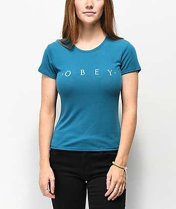 Obey Novel Surf camiseta encogida azul