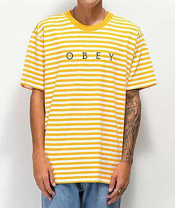 a27e00d62cef Obey Novel Yellow Striped T-Shirt