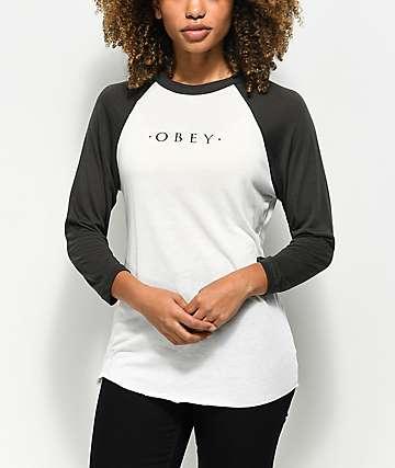 Obey Novel camiseta de béisbol en color crema y gris de grafito