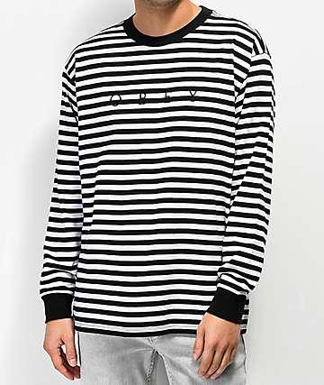 Obey Novel camiseta de manga larga de rayas negras