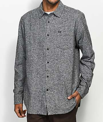 Obey Numbers Heather Black Woven Shirt