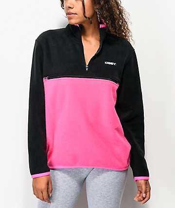 Obey Odyssey Black & Pink Quarter Zip Polar Fleece Sweatshirt