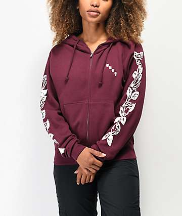 Obey Olde Rose Burgundy Zip Up Hoodie