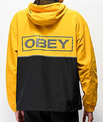Obey Outlander Yellow   Black Anorak Jacket 06a4be8e5