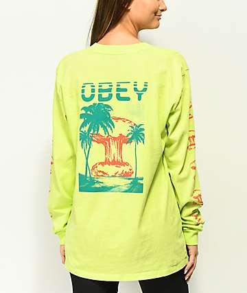 Obey Over Paradise camiseta de manga larga en color menta