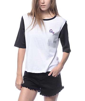 Obey Owen Script White & Black Crop T-Shirt