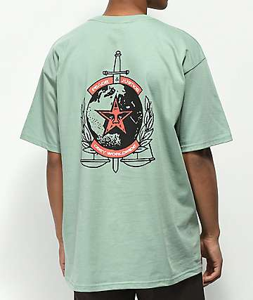 Obey Peace & Justice camiseta de color salvia
