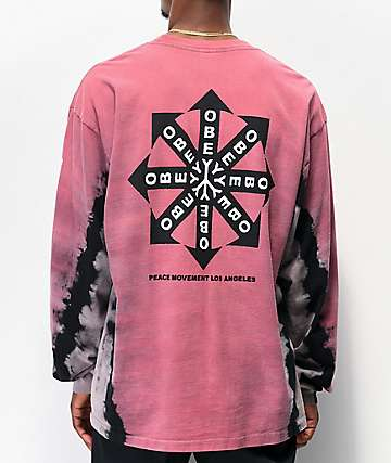 Obey Peace Movement Red Tie Dye Long Sleeve T-Shirt
