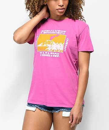 Obey Permanent Vacation Vintage camiseta magenta