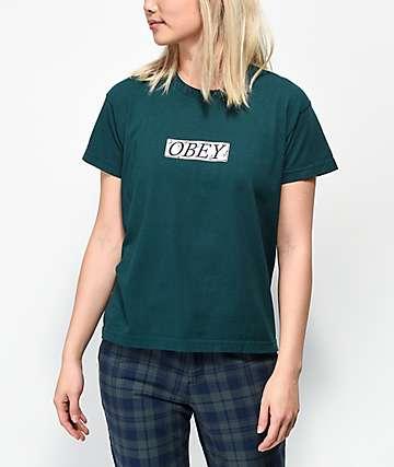 Obey Philosophy Box Logo camiseta verde oscuro